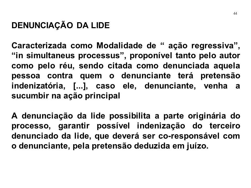 DENUNCIAÇÃO DA LIDE Caracterizada como Modalidade de ação regressiva, in simultaneus processus, proponível tanto pelo autor como pelo réu, sendo citad