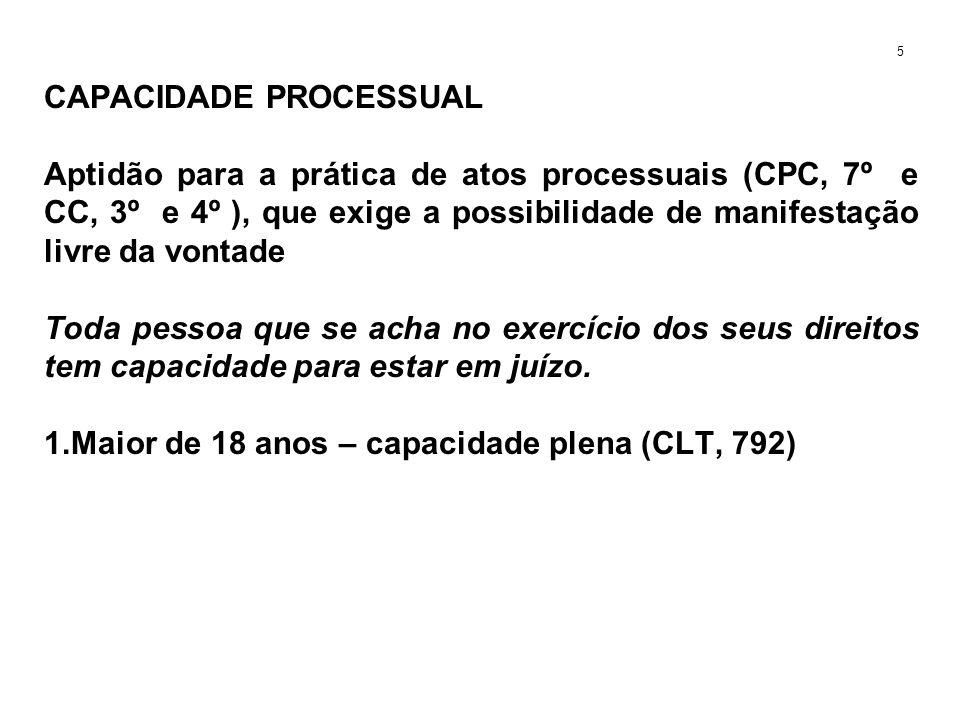 CAPACIDADE PROCESSUAL Aptidão para a prática de atos processuais (CPC, 7º e CC, 3º e 4º ), que exige a possibilidade de manifestação livre da vontade 2.Menor de 16 e maior de 18 anos (CF, 7º, XXXIII e CLT, 402 e 403 ) 6