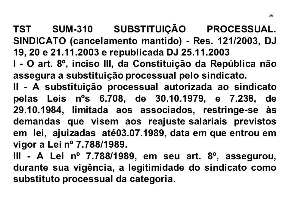 TST SUM-310 SUBSTITUIÇÃO PROCESSUAL. SINDICATO (cancelamento mantido) - Res. 121/2003, DJ 19, 20 e 21.11.2003 e republicada DJ 25.11.2003 I - O art. 8