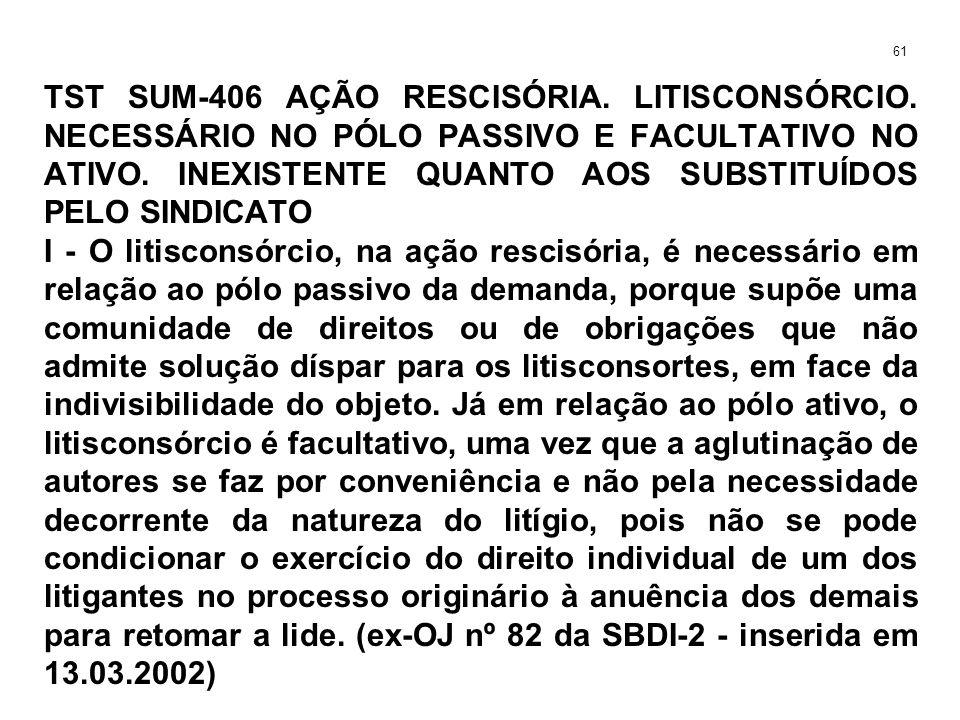 TST SUM-406 AÇÃO RESCISÓRIA.LITISCONSÓRCIO. NECESSÁRIO NO PÓLO PASSIVO E FACULTATIVO NO ATIVO.