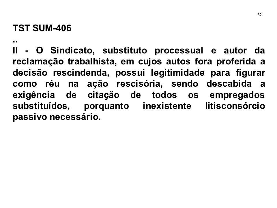TST SUM-406.. II - O Sindicato, substituto processual e autor da reclamação trabalhista, em cujos autos fora proferida a decisão rescindenda, possui l