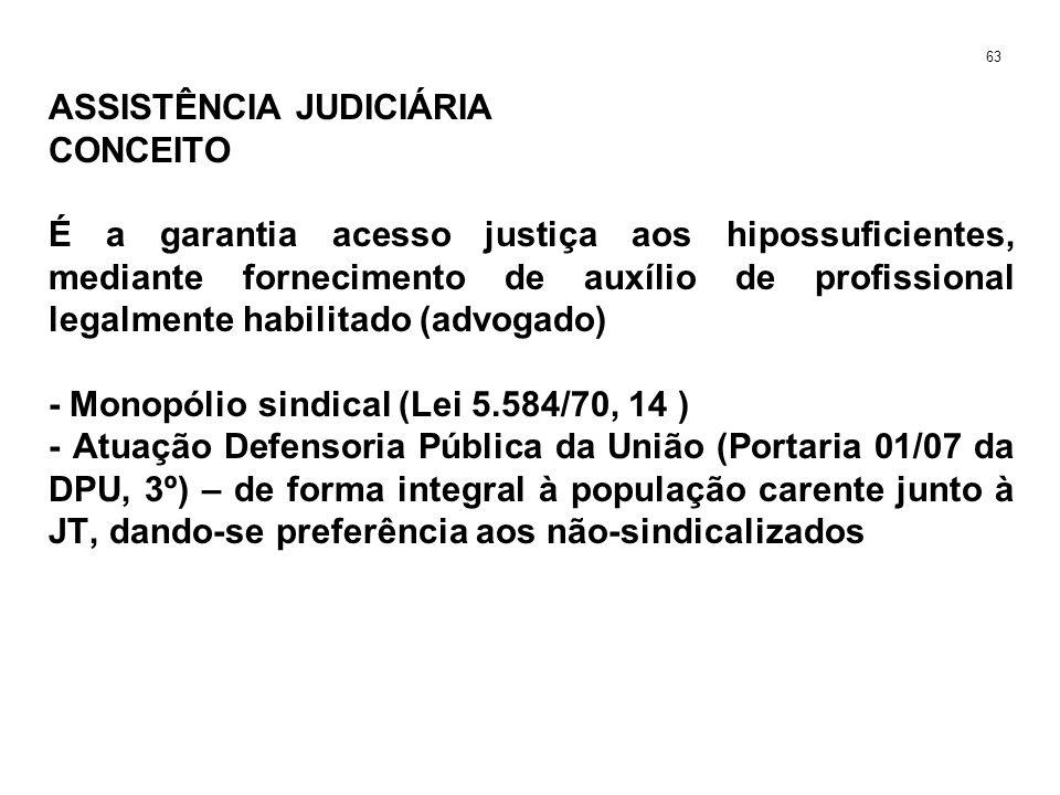 ASSISTÊNCIA JUDICIÁRIA CONCEITO É a garantia acesso justiça aos hipossuficientes, mediante fornecimento de auxílio de profissional legalmente habilita