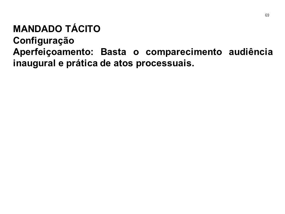 MANDADO TÁCITO Configuração Aperfeiçoamento: Basta o comparecimento audiência inaugural e prática de atos processuais. 69