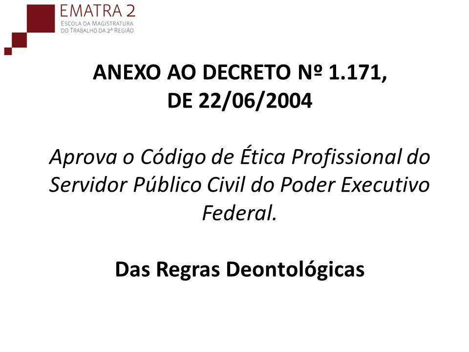 ANEXO AO DECRETO Nº 1.171, DE 22/06/2004 Aprova o Código de Ética Profissional do Servidor Público Civil do Poder Executivo Federal. Das Regras Deonto