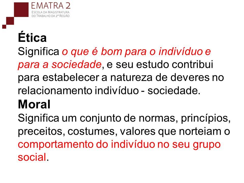 Ética Significa o que é bom para o indivíduo e para a sociedade, e seu estudo contribui para estabelecer a natureza de deveres no relacionamento indiv