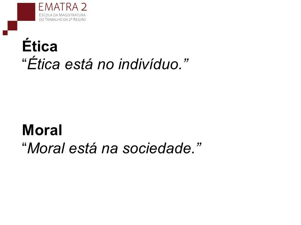 ÉticaÉtica está no indivíduo. MoralMoral está na sociedade.