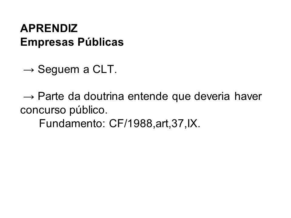 APRENDIZ Empresas Públicas Seguem a CLT. Parte da doutrina entende que deveria haver concurso público. Fundamento: CF/1988,art,37,IX.