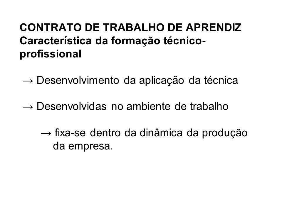 CONTRATO DE TRABALHO DE APRENDIZ Característica da formação técnico- profissional Desenvolvimento da aplicação da técnica Desenvolvidas no ambiente de