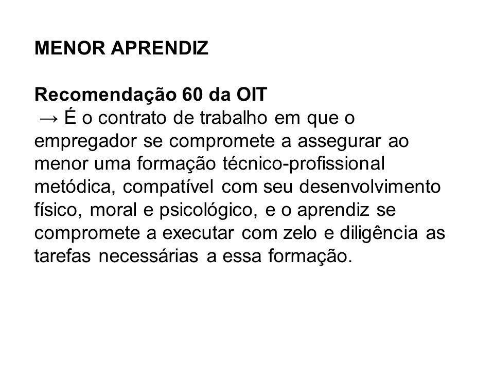 MENOR APRENDIZ Recomendação 60 da OIT É o contrato de trabalho em que o empregador se compromete a assegurar ao menor uma formação técnico-profissiona