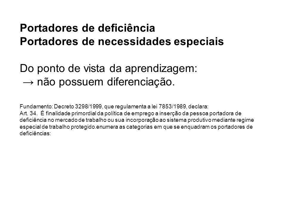 Portadores de deficiência Portadores de necessidades especiais Do ponto de vista da aprendizagem: não possuem diferenciação. Fundamento: Decreto 3298/
