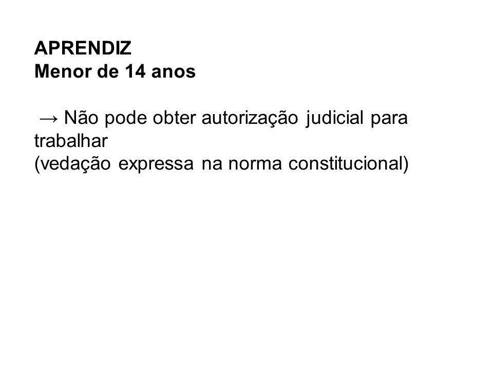 APRENDIZ Menor de 14 anos Não pode obter autorização judicial para trabalhar (vedação expressa na norma constitucional)
