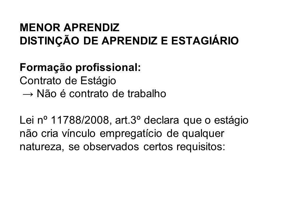 MENOR APRENDIZ DISTINÇÃO DE APRENDIZ E ESTAGIÁRIO Formação profissional: Contrato de Estágio Não é contrato de trabalho Lei nº 11788/2008, art.3º decl