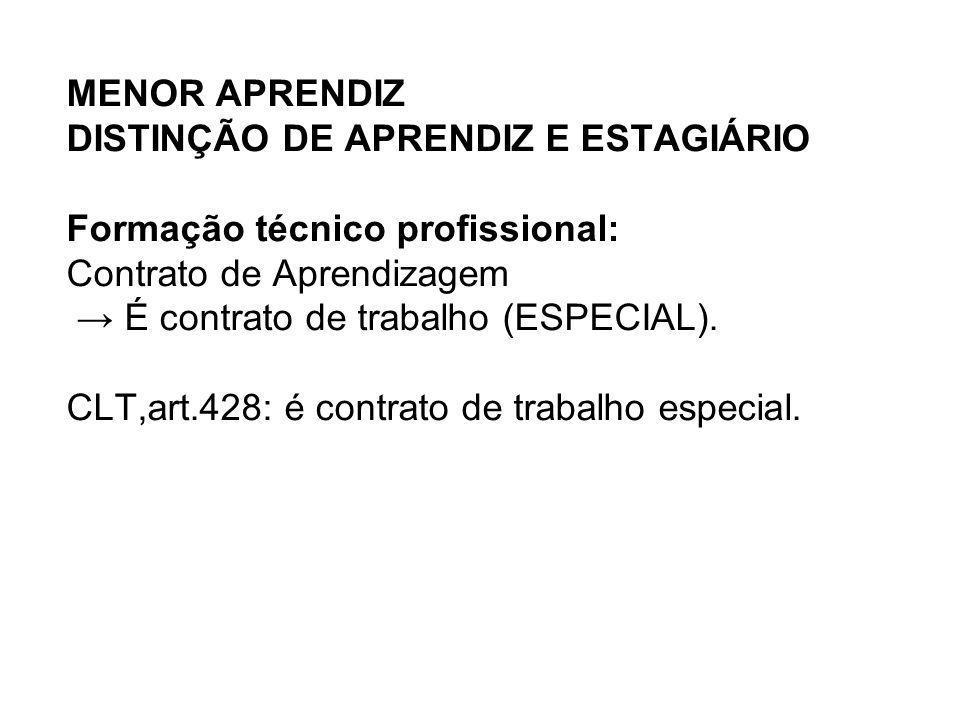 MENOR APRENDIZ DISTINÇÃO DE APRENDIZ E ESTAGIÁRIO Formação técnico profissional: Contrato de Aprendizagem É contrato de trabalho (ESPECIAL). CLT,art.4