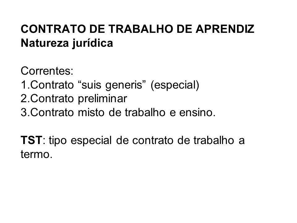 CONTRATO DE TRABALHO DE APRENDIZ Natureza jurídica Correntes: 1.Contrato suis generis (especial) 2.Contrato preliminar 3.Contrato misto de trabalho e