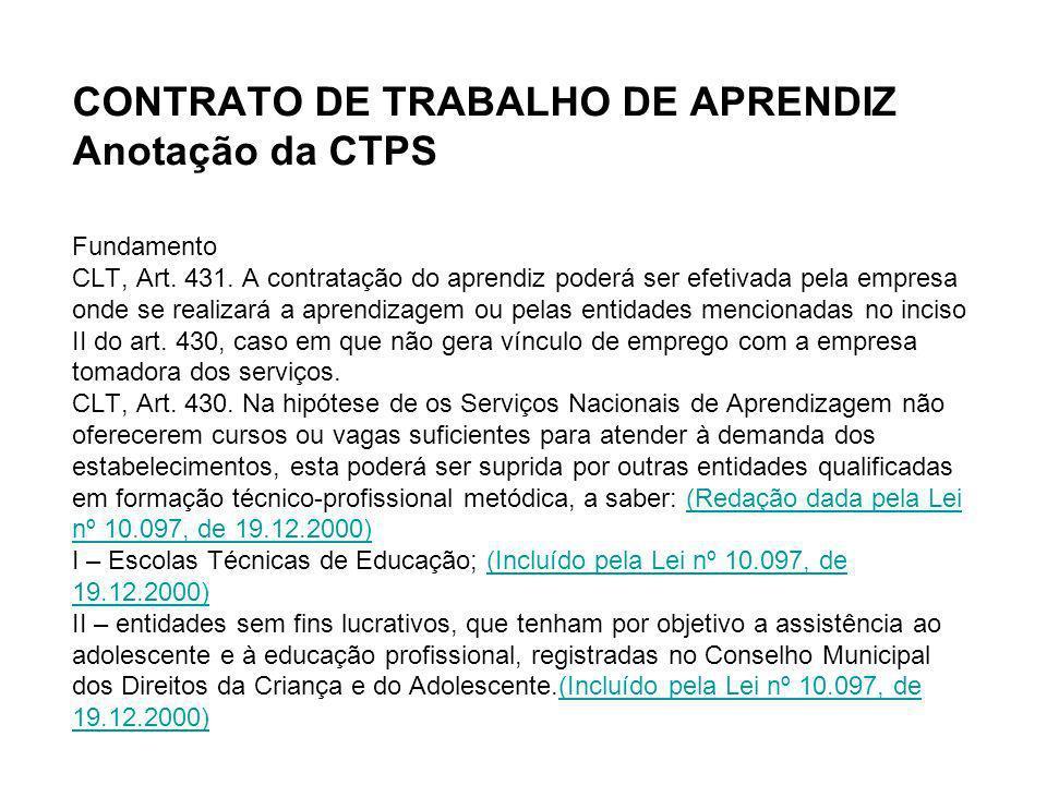 CONTRATO DE TRABALHO DE APRENDIZ Anotação da CTPS Fundamento CLT, Art. 431. A contratação do aprendiz poderá ser efetivada pela empresa onde se realiz
