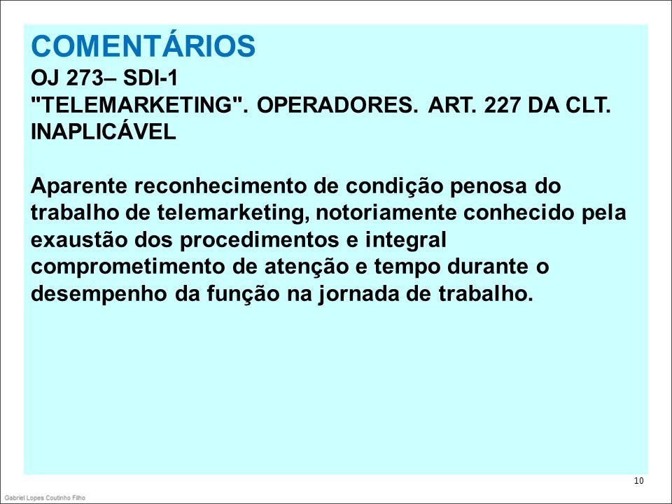 . 10 COMENTÁRIOS OJ 273– SDI-1