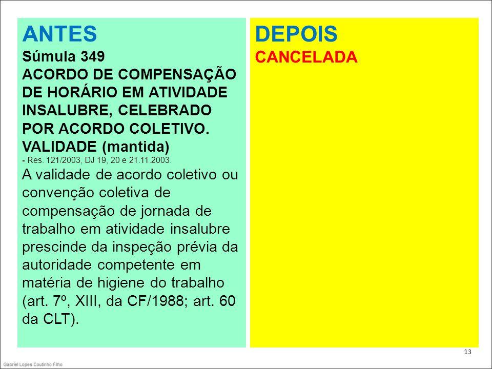 . 13 ANTES Súmula 349 ACORDO DE COMPENSAÇÃO DE HORÁRIO EM ATIVIDADE INSALUBRE, CELEBRADO POR ACORDO COLETIVO. VALIDADE (mantida) - Res. 121/2003, DJ 1