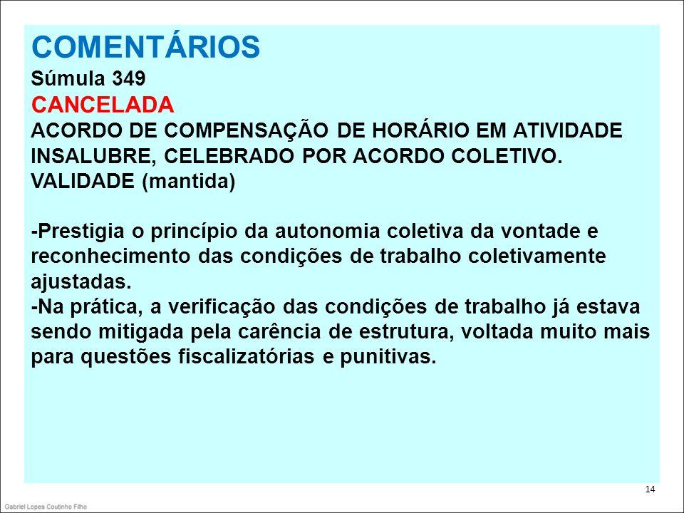 . 14 COMENTÁRIOS Súmula 349 CANCELADA ACORDO DE COMPENSAÇÃO DE HORÁRIO EM ATIVIDADE INSALUBRE, CELEBRADO POR ACORDO COLETIVO. VALIDADE (mantida) -Pres