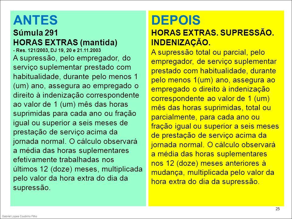 . 25 ANTES Súmula 291 HORAS EXTRAS (mantida) - Res. 121/2003, DJ 19, 20 e 21.11.2003 A supressão, pelo empregador, do serviço suplementar prestado com