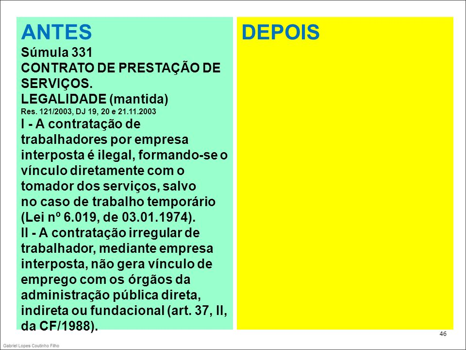 . 46 ANTES Súmula 331 CONTRATO DE PRESTAÇÃO DE SERVIÇOS. LEGALIDADE (mantida) Res. 121/2003, DJ 19, 20 e 21.11.2003 I - A contratação de trabalhadores