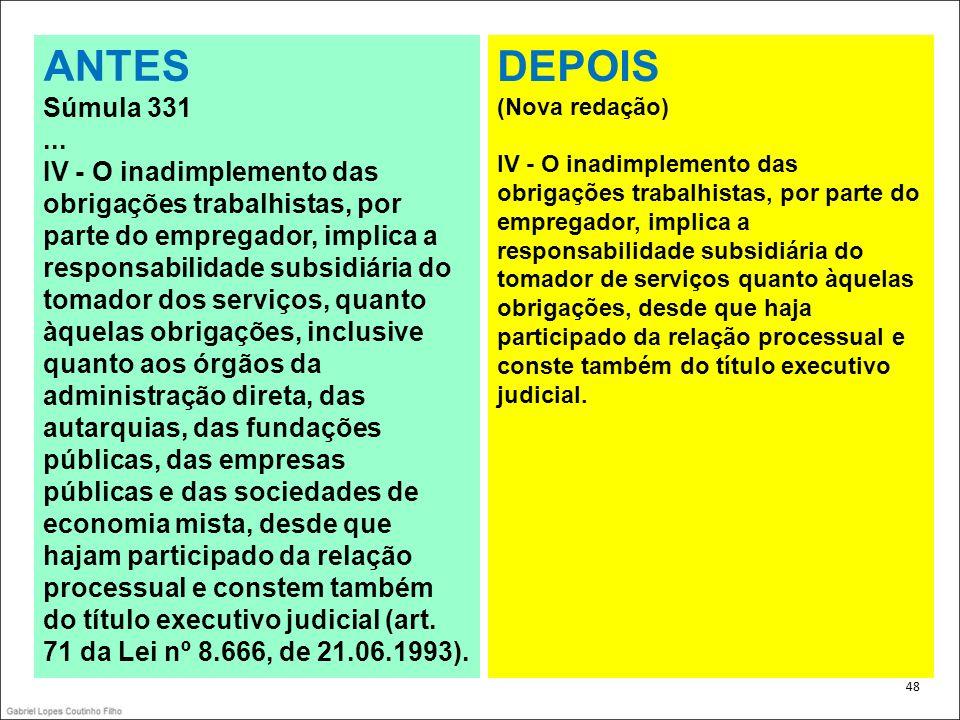 . 48 ANTES Súmula 331... IV - O inadimplemento das obrigações trabalhistas, por parte do empregador, implica a responsabilidade subsidiária do tomador