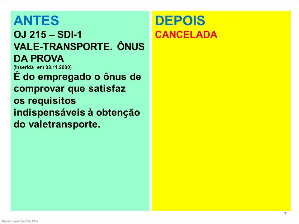 . 7 ANTES OJ 215 – SDI-1 VALE-TRANSPORTE. ÔNUS DA PROVA (inserida em 08.11.2000) É do empregado o ônus de comprovar que satisfaz os requisitos indispe