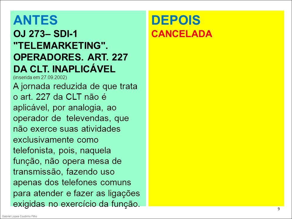 10 COMENTÁRIOS OJ 273– SDI-1 TELEMARKETING .OPERADORES.