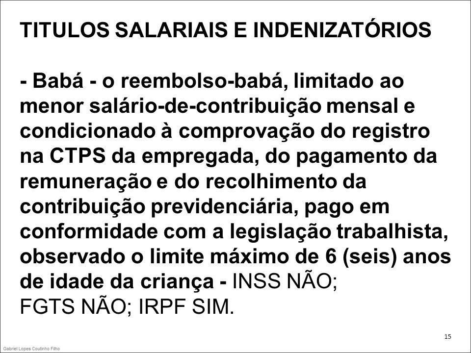 TITULOS SALARIAIS E INDENIZATÓRIOS - Babá - o reembolso-babá, limitado ao menor salário-de-contribuição mensal e condicionado à comprovação do registr