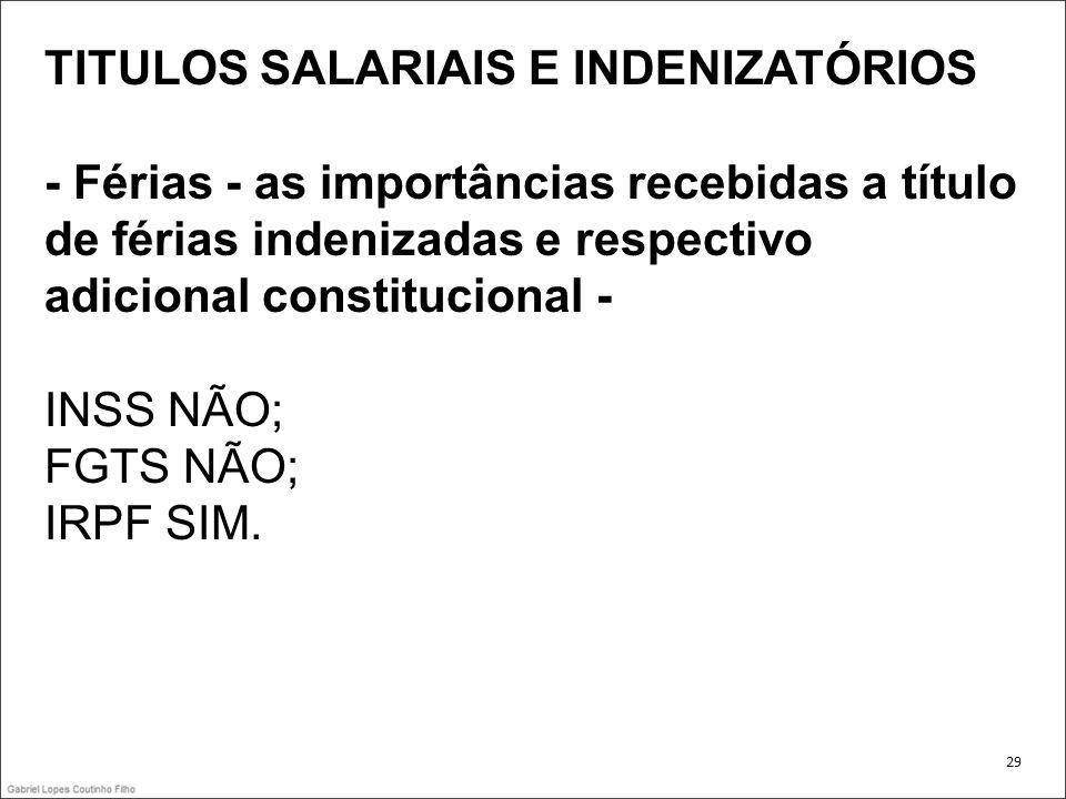 TITULOS SALARIAIS E INDENIZATÓRIOS - Férias - as importâncias recebidas a título de férias indenizadas e respectivo adicional constitucional - INSS NÃ