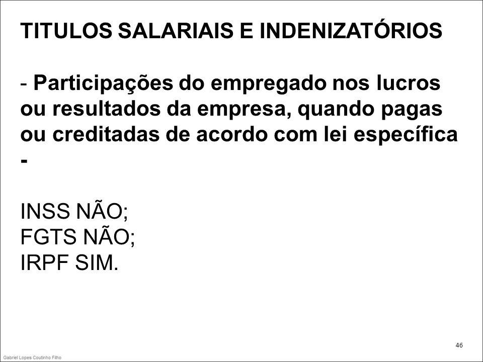 TITULOS SALARIAIS E INDENIZATÓRIOS - Participações do empregado nos lucros ou resultados da empresa, quando pagas ou creditadas de acordo com lei espe