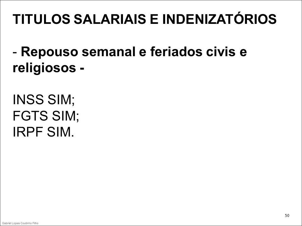 TITULOS SALARIAIS E INDENIZATÓRIOS - Repouso semanal e feriados civis e religiosos - INSS SIM; FGTS SIM; IRPF SIM. 50