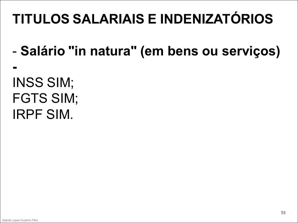 TITULOS SALARIAIS E INDENIZATÓRIOS - Salário