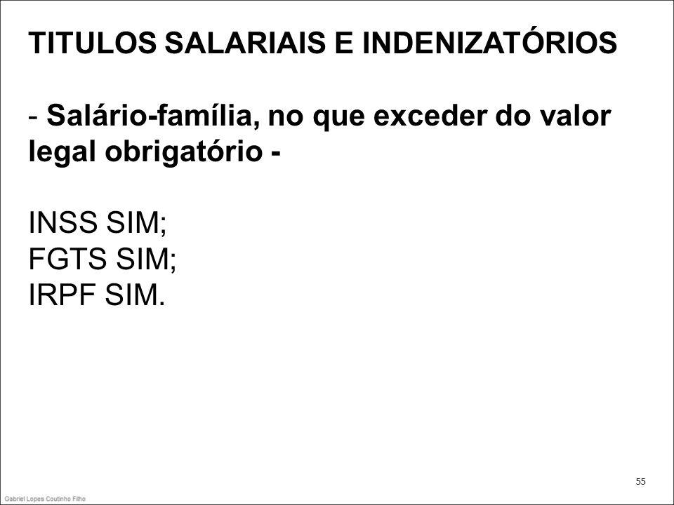 TITULOS SALARIAIS E INDENIZATÓRIOS - Salário-família, no que exceder do valor legal obrigatório - INSS SIM; FGTS SIM; IRPF SIM. 55