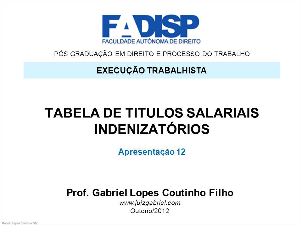 PÓS GRADUAÇÃO EM DIREITO E PROCESSO DO TRABALHO TABELA DE TITULOS SALARIAIS INDENIZATÓRIOS Apresentação 12 EXECUÇÃO TRABALHISTA Prof. Gabriel Lopes Co
