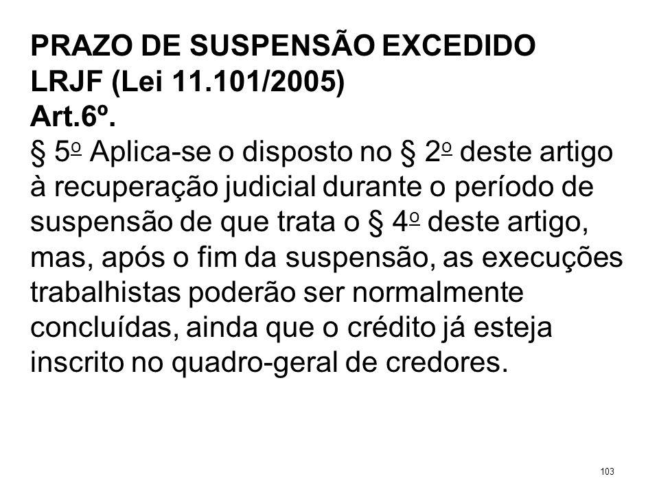 PRAZO DE SUSPENSÃO EXCEDIDO LRJF (Lei 11.101/2005) Art.6º. § 5 o Aplica-se o disposto no § 2 o deste artigo à recuperação judicial durante o período d