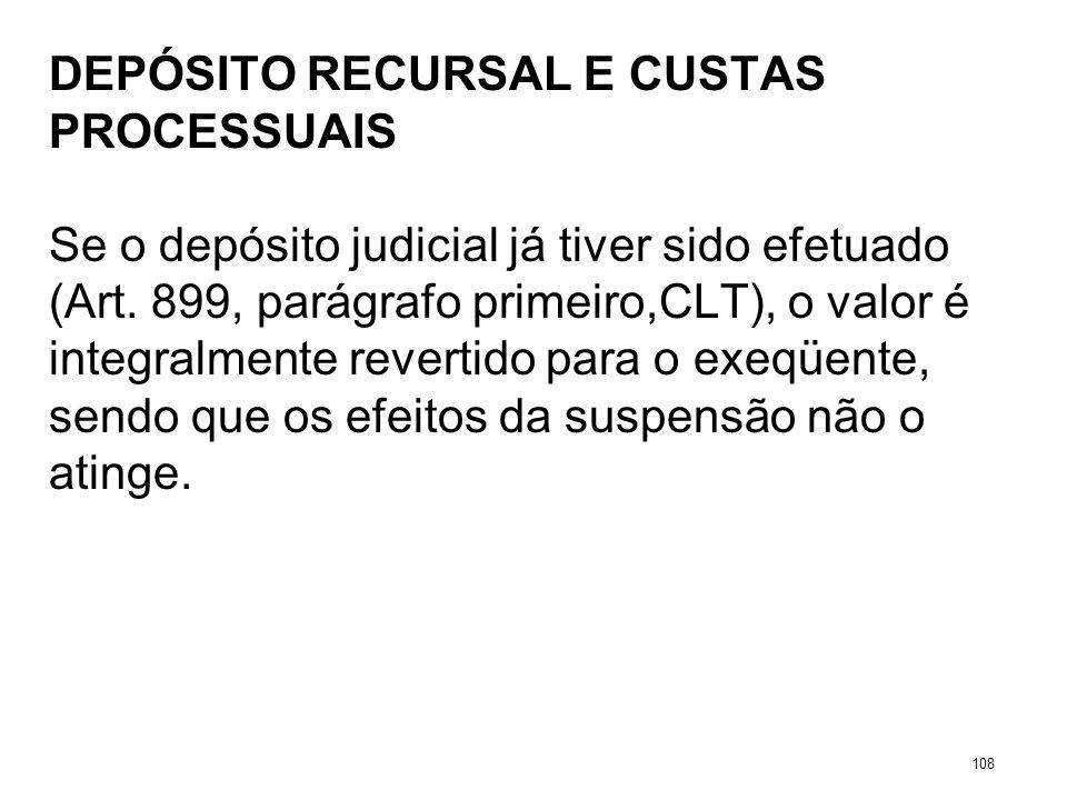 DEPÓSITO RECURSAL E CUSTAS PROCESSUAIS Se o depósito judicial já tiver sido efetuado (Art. 899, parágrafo primeiro,CLT), o valor é integralmente rever