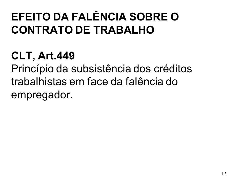 EFEITO DA FALÊNCIA SOBRE O CONTRATO DE TRABALHO CLT, Art.449 Princípio da subsistência dos créditos trabalhistas em face da falência do empregador. 11