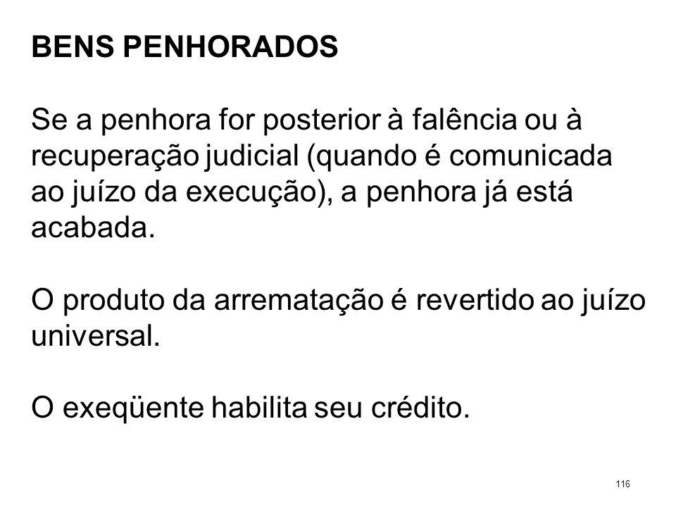 BENS PENHORADOS Se a penhora for posterior à falência ou à recuperação judicial (quando é comunicada ao juízo da execução), a penhora já está acabada.