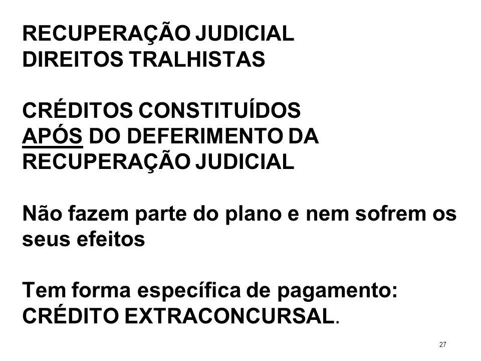 RECUPERAÇÃO JUDICIAL DIREITOS TRALHISTAS CRÉDITOS CONSTITUÍDOS APÓS DO DEFERIMENTO DA RECUPERAÇÃO JUDICIAL Não fazem parte do plano e nem sofrem os se
