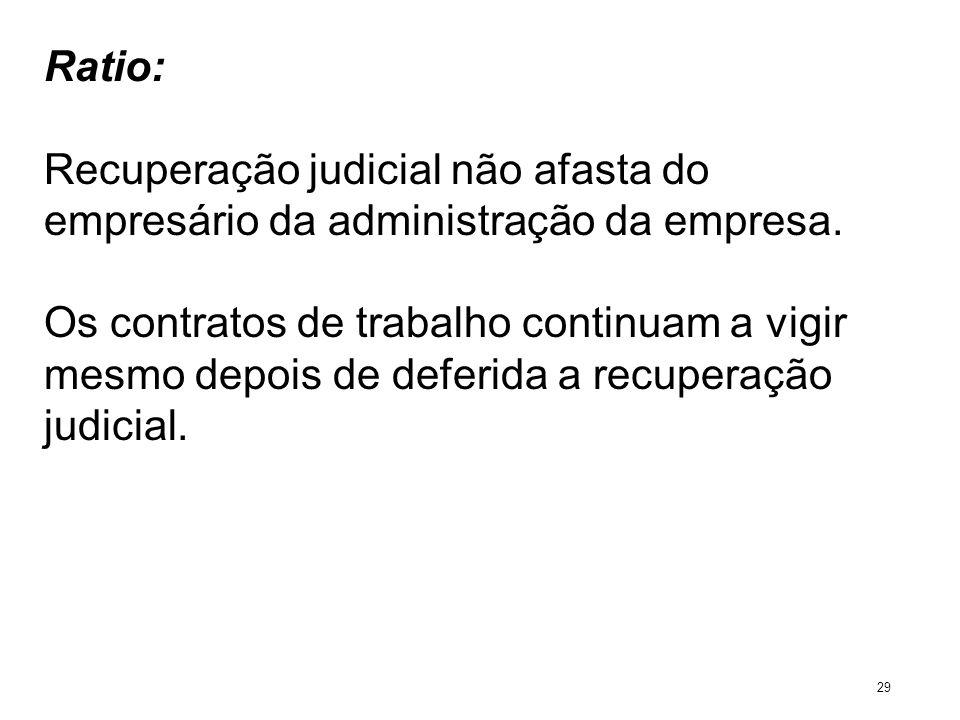 Ratio: Recuperação judicial não afasta do empresário da administração da empresa. Os contratos de trabalho continuam a vigir mesmo depois de deferida