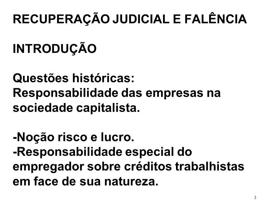 RECUPERAÇÃO JUDICIAL E FALÊNCIA INTRODUÇÃO Questões históricas: Responsabilidade das empresas na sociedade capitalista. -Noção risco e lucro. -Respons