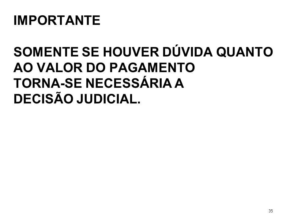 IMPORTANTE SOMENTE SE HOUVER DÚVIDA QUANTO AO VALOR DO PAGAMENTO TORNA-SE NECESSÁRIA A DECISÃO JUDICIAL. 35
