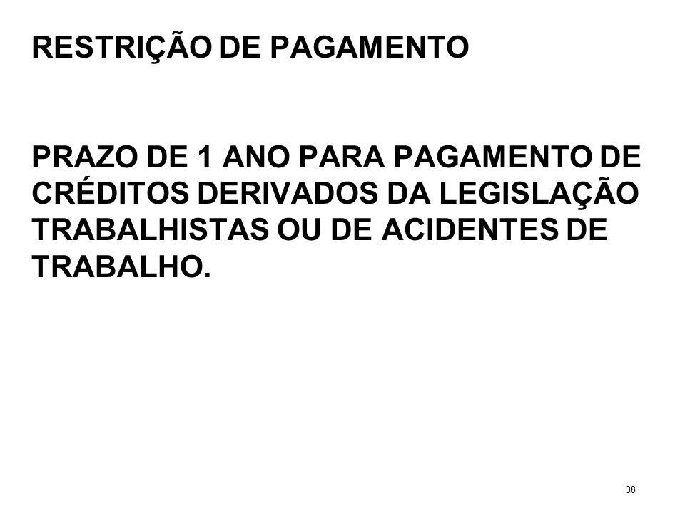 RESTRIÇÃO DE PAGAMENTO PRAZO DE 1 ANO PARA PAGAMENTO DE CRÉDITOS DERIVADOS DA LEGISLAÇÃO TRABALHISTAS OU DE ACIDENTES DE TRABALHO. 38