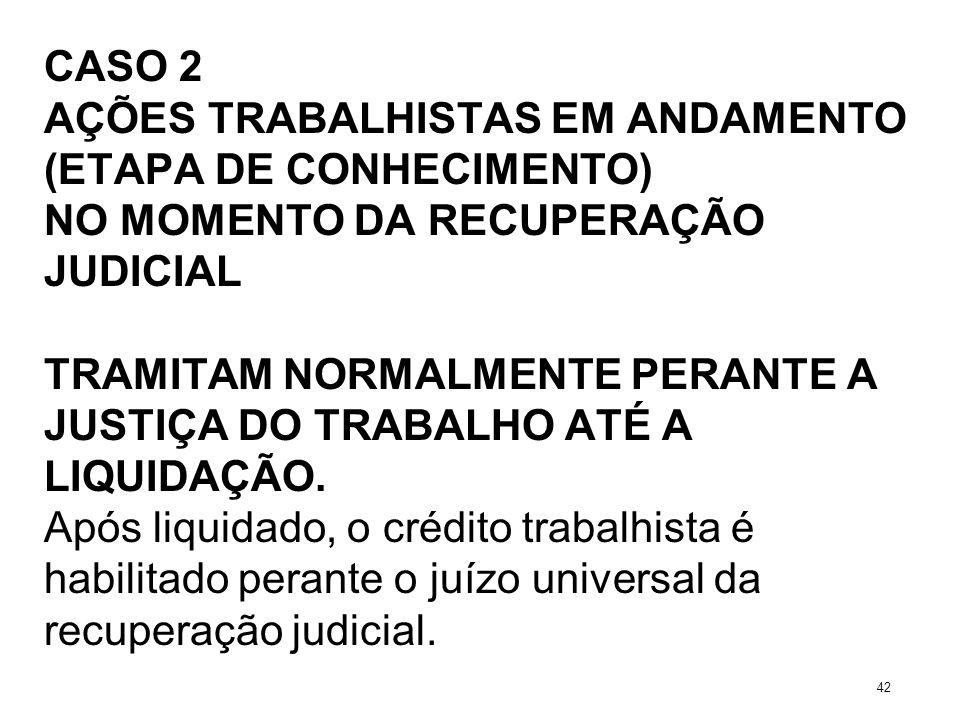CASO 2 AÇÕES TRABALHISTAS EM ANDAMENTO (ETAPA DE CONHECIMENTO) NO MOMENTO DA RECUPERAÇÃO JUDICIAL TRAMITAM NORMALMENTE PERANTE A JUSTIÇA DO TRABALHO A