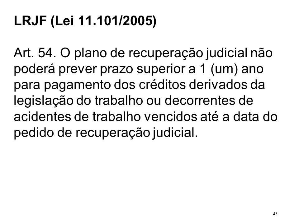 LRJF (Lei 11.101/2005) Art. 54. O plano de recuperação judicial não poderá prever prazo superior a 1 (um) ano para pagamento dos créditos derivados da