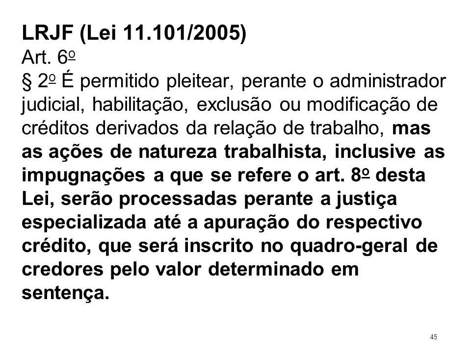 LRJF (Lei 11.101/2005) Art. 6 o § 2 o É permitido pleitear, perante o administrador judicial, habilitação, exclusão ou modificação de créditos derivad
