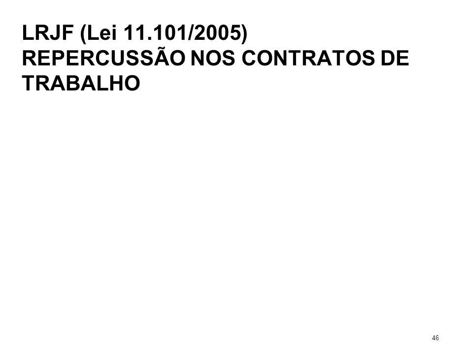 LRJF (Lei 11.101/2005) REPERCUSSÃO NOS CONTRATOS DE TRABALHO 46
