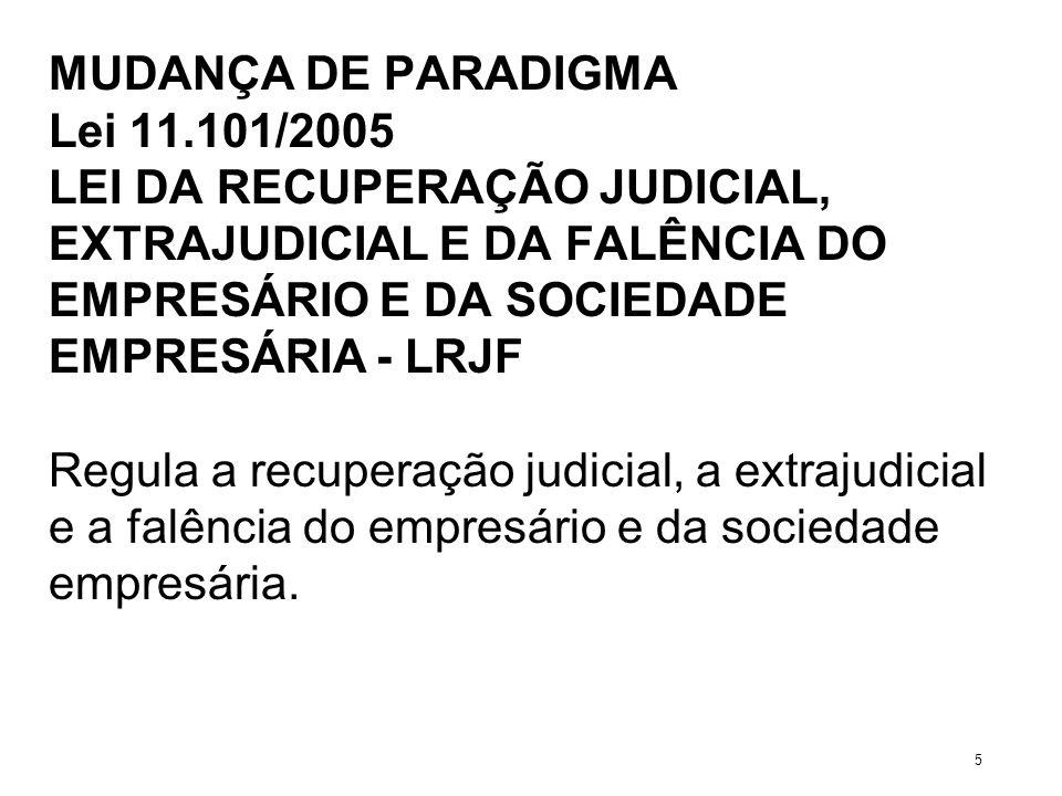 MUDANÇA DE PARADIGMA Lei 11.101/2005 LEI DA RECUPERAÇÃO JUDICIAL, EXTRAJUDICIAL E DA FALÊNCIA DO EMPRESÁRIO E DA SOCIEDADE EMPRESÁRIA - LRJF Regula a