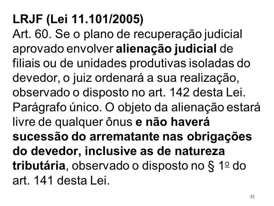 LRJF (Lei 11.101/2005) Art. 60. Se o plano de recuperação judicial aprovado envolver alienação judicial de filiais ou de unidades produtivas isoladas