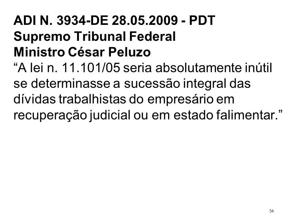 ADI N. 3934-DE 28.05.2009 - PDT Supremo Tribunal Federal Ministro César Peluzo A lei n. 11.101/05 seria absolutamente inútil se determinasse a sucessã
